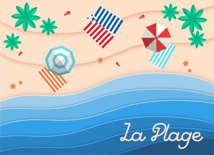 plage-parasol-sable-detente-mer-serviette-planche-visualisation